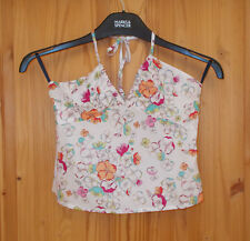 FRENCH CONNECTION ivory blue green pink floral halterneck camisole vest top 8 36