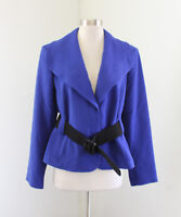 Calvin Klein Royal Purple Black Chunky Belted Blazer Jacket Size 12 Career