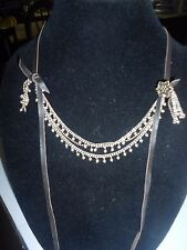 LUCKY BRAND, MULTI-LAYERS,METAL BEADED SILVER/GOLD TONE,LEATHER STRING,NECKLACE.