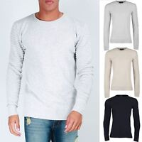 Mens Ribbed Long Sleeve Cuff Knit Crew Neck Sweater Pullover Biker Jumper Top