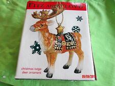 "Fitz And Floyd 2002 Christmas Lodge Deer Tree Ornament 4.5 "" tall"