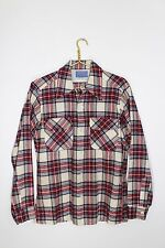 VINTAGE 60's~Size Small~Pendleton~100% WOOL~Plaid~Long Sleeve Button Front Shirt