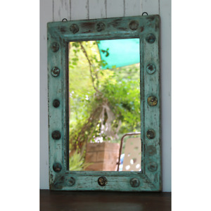 Customized rustic Vintage Wood Wall Framed mirror Antique Hand Craft wall mirror