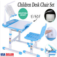 Adjustable Blue Children's Study Desk Table Chair Set Child Kids with LED Lamp