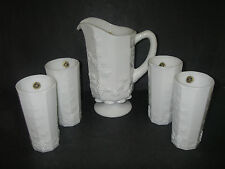 Westmoreland Glass PANELED GRAPE Milk Opaque 5 pc Beverage Set Pitcher 4 Tumbler