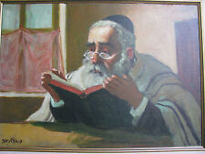 Israeli Art - Israel - A. Adler - RABBI LEARNS TORAH - Oil on Canvas - Unique