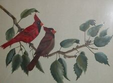RED WING SONG BIRD CARDINAL ORIGINAL ART PAINTING VTG HOME DECOR AUDUBON N COUCH