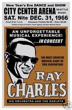 1960's R&B Soul: Ray Charles in  Seattle New Year Concert Poster 1966
