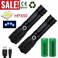 Powerful 900000Lumens XHP50 Zoom Flashlight LED USB Rechargeable Torch Headlamp