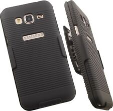 BLACK HARD CASE COVER + BELT CLIP HOLSTER STAND FOR SAMSUNG GALAXY AMP PRIME