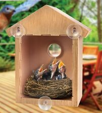 Clear Window Bird Feeder House See Through Nest Viewing Perspex Seed Glass