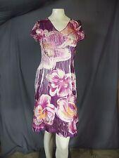 Komarov Dress Cap Sleeve V-Neck Paneled Midi Pink Purple Floral size Petite L