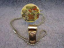 Vintage Circus Toy Brass Elephant Whistle  & 1940s CIRCUS Pinback, Pin, Button