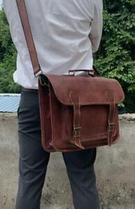 """Unisex 16"""" real goat leather messenger laptop briefcase satchel backpack bag"""