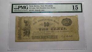 $.10 1850's New Brooklin New Jersey NJ Obsolete Currency Bank Note Bill Brooklyn