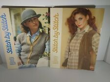 Stitch by Stitch 1 & 2 Torstar Books Sewing Knitting Crochet Vintage 1985 Hc