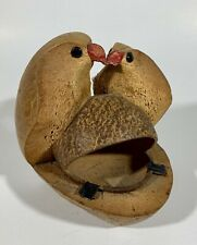 Adorable Vintage Wood Coconut Shell Birds with Bird Feeder Tropical