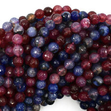 "8mm faceted agate round beads 15"" strand multicolor S1"