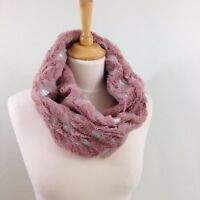 Womens's Mobius Winter Snood Scarf Pink Faux Fur Metalic Silver Foil Feather