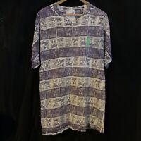 Lizard All Over Full Print T-Shirt Mens Sz XL Single Stitch Vintage 90s Used S/S