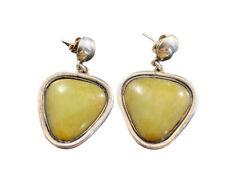 Vintage Sterling Silver Green Agate Post Earrings Dangle Fine