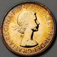 1970 GREAT BRITAIN HALF PENNY TONED PROOF COIN WITH GREAT DETAIL