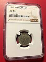 Malaya & British Borneo 10 Cents NGC AU 53