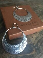 SILPADA Sterling Silver Large Floral Etched Round Basket Hoop Earrings W2378 HTF