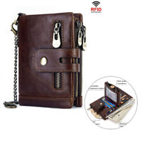 Men Leather Small Compact Bifold Pocket Wallet Mini Purse Credit Cards Wallet