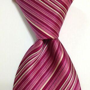 "BRIONI Men's 100% Silk XL 63"" Necktie ITALY Luxury STRIPED Pink/White/Black EUC"