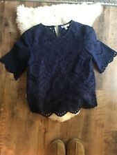 nieman marcus, Lace Top, Small, Navy Blouse
