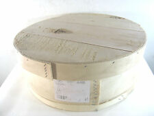 """VINTAGE DUFECK'S  USA  WISCONSIN 15"""" ROUND BENT WOOD CHEESE BOX , EXC. CONDITION"""