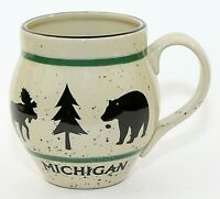 Large Pottery Cup Mug Michigan Speckle Glaze Moose Bear Large Size EUC