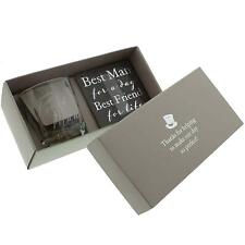 Whisky Glass and Coaster Boxed Gift Set Wedding Day Best Man by Amore