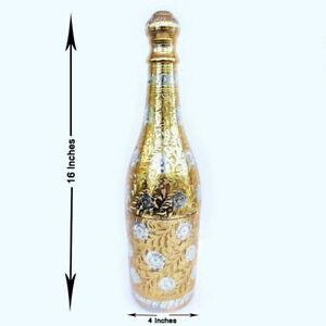 "Brass Metal Royal Champagne Bottle Hand Carving Home Décor Big Size 16"" #HDAU06"