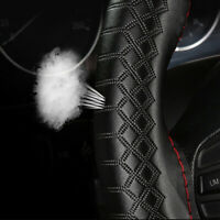 Universal Comfortable Black Genuine Leather Car Steering Wheel Cover Red Thread