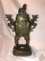 antique brass chinese censer incense burner foo dog ho ho birds China lovely old