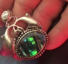 sterling silver 925 Dolphin Abalone Pendant