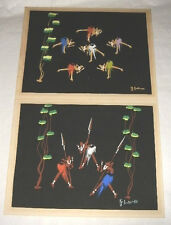 PAIR AFRICAN ART PAINTINGS DANCING GRASS SKIRTS SWORDS BLUE ORANGE GREEN BLACK