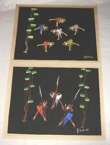 PAIR AFRICAN ART PAINTINGS DANCING GRASS SKIRTS SWORDS BLUE ORANGE GREEN BLACK