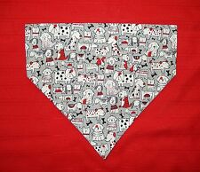 BLACK/WHITE/RED DOGS ON GREY DOG SCARF/BANDANA--LARGE