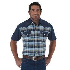 WRANGLER Mens - Short Sleeve Western Shirt - 2XL - BLUE PLAID - MS380BM