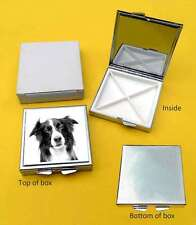 Border Collie Dog Polished Metal Square Pill Box Gift with 4 compartments