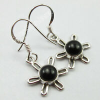 Natural Black Onyx Drop Dangle Earrings 925 Sterling Silver Stone Jewelry