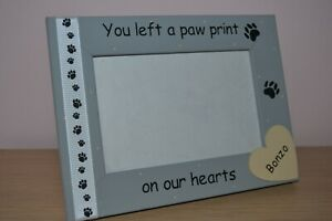 Personalised handmade photo frame YOU LEFT A PAW PRINT ON OUR HEARTS gift