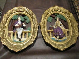 BB: VINTAGE PAIR-2 VICTORIAN JAYESS UNITED MAN+WOMAN OVAL WALL HANGING CHALKWARE