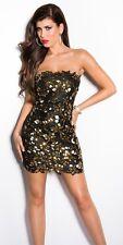 Strapless leatherlook WETLOOK dress bling clubbing dress gold sexy clubbing