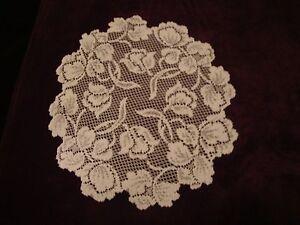 Ivory lace Dutch Garden design  Doily 14 round  Set of 2