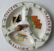 1950s Cheese Cracker Butter Serving Tray w/ Handle Mcm Hand-Painted Ceramic