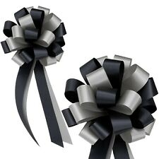 """Black & Silver Pull Bows with Tails - 8"""" Wide, Set of 6, Wedding, Gift Basket"""